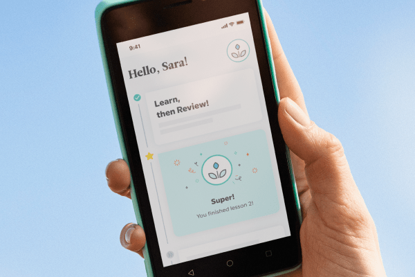 Mobile phone showing a personal learning path in the Babbel app