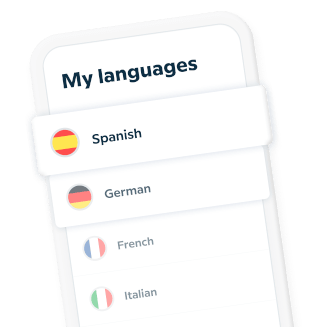 Phone with learning language options available in the Babbel app